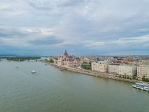 Aerial Danube panorama with a view of Hungarian Parliament building in central Budapest.  royalty free stock image