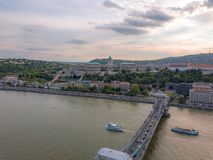 Aerial of Danube river panorama with a view on Buda castle and Chain Bridge in central Budapest.  stock photography