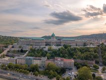 Aerial of Danube river panorama with a view on Buda castle and Chain Bridge in central Budapest.  stock image