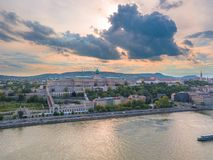Aerial of Danube river panorama with a view on Buda castle and Chain Bridge in central Budapest.  royalty free stock images