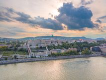 Aerial of Danube river panorama with a view on Buda castle and Chain Bridge in central Budapest.  royalty free stock photos