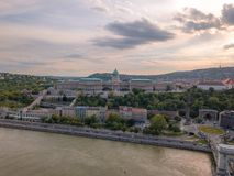 Aerial of Danube river panorama with a view on Buda castle and Chain Bridge in central Budapest.  royalty free stock photo