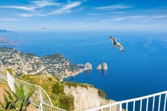 Aerial daylight view of Faraglioni rocks from Monte Solaro at Ca Royalty Free Stock Images