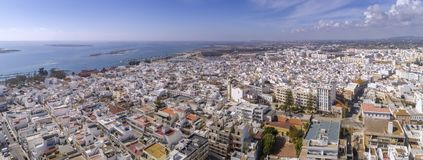 Aerial daytime view of Olhao downtown. Algarve. Portugal. Aerial daytime view of Olhao downtown, waterfront to Ria Formosa natural park. Algarve. Portugal Royalty Free Stock Photo