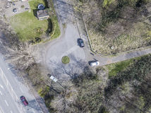 Aerial of a dead end road Royalty Free Stock Photo