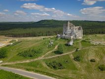 Aerial of defense castle ruins in Poland stock photography