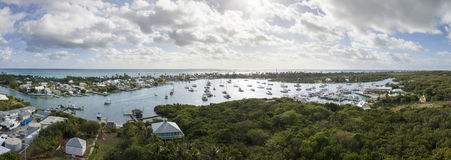 Aerial 180 degree panorama of bahamas Stock Image
