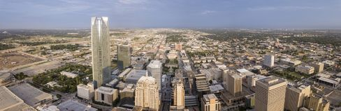 Aerial 180 degree panorama of downtown Oklahoma City stock images