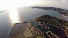 Aerial 360 degree panoramic view of soline in Slovenia, place of sea salt extraction. stock video