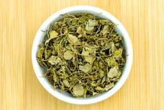 Aerial of dehydrated fenugreek methi herb Royalty Free Stock Photo