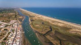 aerial Der Hafen in den Cabanas Tavira Ansicht vom Himmel Lizenzfreie Stockfotos