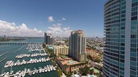 Aerial descend Miami Beach drone stock video