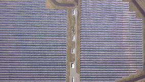 Aerial desert view large industrial Solar Energy Farm producing concentrated solar power, USA.  stock video