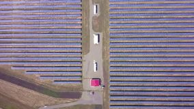 Aerial desert view large industrial Solar Energy Farm producing concentrated solar power, USA.  stock video footage