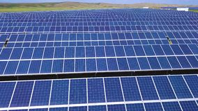Aerial desert view large industrial Solar Energy Farm producing concentrated solar power, USA.  stock footage