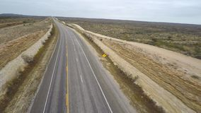 Aerial desolate highway stock footage