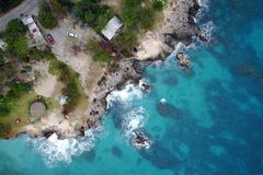 Aerial of 3 Dives point, Negril, Jamaica. Drone aerial image of 3 Dives Point on the western coast of Jamaica near Negril Royalty Free Stock Images