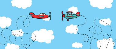 Aerial Dogfight / Cartoon planes in battle Royalty Free Stock Photography
