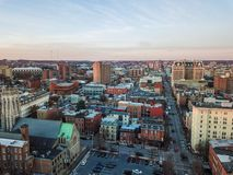 Aerial of Downtown Baltimore, Maryland from The Mount Vernon Place royalty free stock images