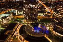 Aerial of downtown buildings at night in Phoenix, AZ Royalty Free Stock Image