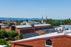 Aerial of Downtown Frederick and Carrol Creek Promenade in Frede Royalty Free Stock Photography