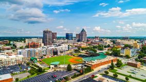 Aerial of Downtown Greensboro North Carolina NC Skyline stock photos