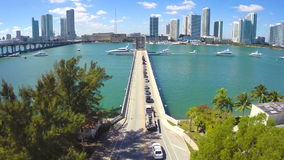 Aerial Downtown Miami and the bay stock video