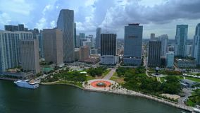 Aerial Downtown Miami Bayfront Park stock video