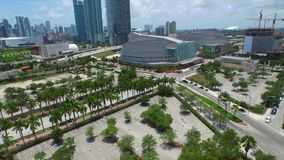Aerial Downtown Miami Knight Center stock video