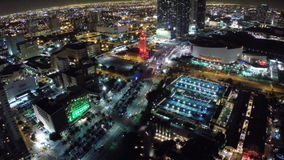 Aerial Downtown Miami at night stock video footage