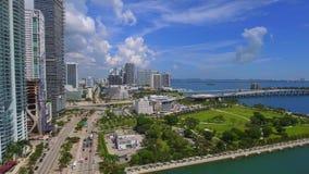 Aerial Downtown Miami vlog stock footage