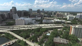 Aerial of downtown Orlando stock video footage