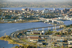 Aerial of downtown Portland, Maine showing Maine Medical Center, Commercial street, Old Port, Back Bay and the Casco Bay Bridge fr Stock Photos