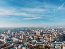 Aerial downtown Voronezh city panorama from drone in sunny day, new and old buildings, skyline view.  royalty free stock photos