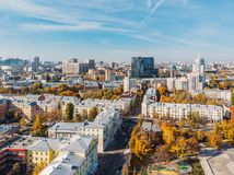 Aerial downtown Voronezh city panorama from drone in sunny day, new and old buildings, skyline view.  royalty free stock images