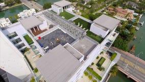 Aerial draw bridge in Miami Beach flyover stock video footage