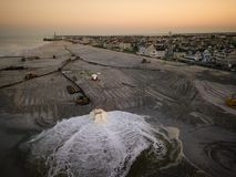 Aerial of dredging in Seaside New Jersey royalty free stock photo