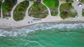 Aerial drone above the beach. Flying a drone above the shore Key Biscayne FLorida stock footage