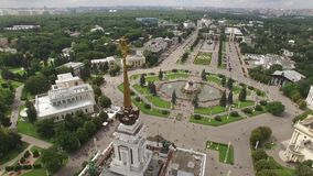 Park VDNKH in Moscow from above. Central walk and fountains. Happy people. Unique aerial view. Best weather. Aerial drone. From above 4k stock footage