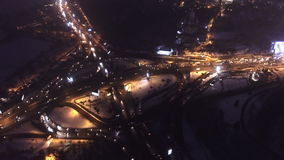 Aerial drone from above view to moving cars. Evening road traffic in Kiev, Ukraine.  stock footage