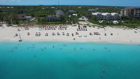 Aerial drone of beach with crystal clear water stock video