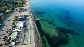 Aerial drone of the beachside town stock video footage