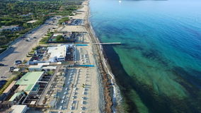 Aerial drone of the beachside town stock video
