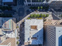 Aerial Drone Bird`s Eye View of City of Raleigh, NC Stock Photo