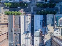 Aerial Drone Bird`s Eye View of City of Raleigh, NC Royalty Free Stock Images