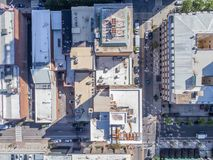 Aerial Drone Bird`s Eye View of City of Raleigh, NC Royalty Free Stock Image