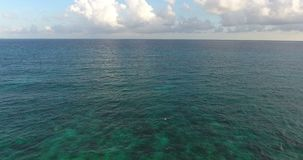 Aerial drone bird`s eye view video on sea waves and rocks, turquoise water. Tropical paradise pacific atoll islands. Top. View. 4k stock footage