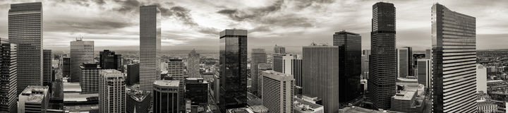 Aerial Drone Black & White Panorama - City of Denver Colorado royalty free stock image