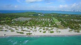 Aerial drone Crandon Park Florida. Aerial video of Crandon Park Key Biscayne Miami FL stock footage