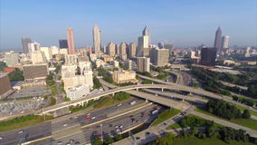 Aerial drone Downtown Atlanta Georgia and I20 stock footage